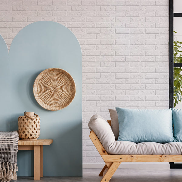 COMMOMY-3D White Brick Peel and Stick Wall Tile