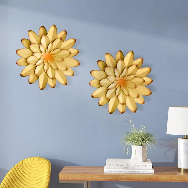 Water_Lily_3D_Metal_Flower_Wall_Decor_Yellow_Scene