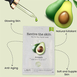 ECONBIO ROOTS Labute Black Pearl, Aloevera, Avocado & Honey Facial Sheet Mask (Pack of 4)