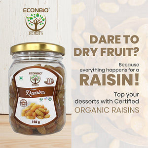 ECONBIO ROOTS Certified Organic Raisins 150g ( Pack of 2) | Organically Grown
