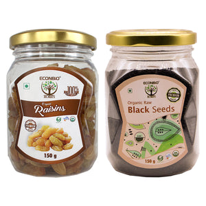 ECONBIO ROOTS Certified Organic Raisins 150g & Organic Raw Black Seeds 150g