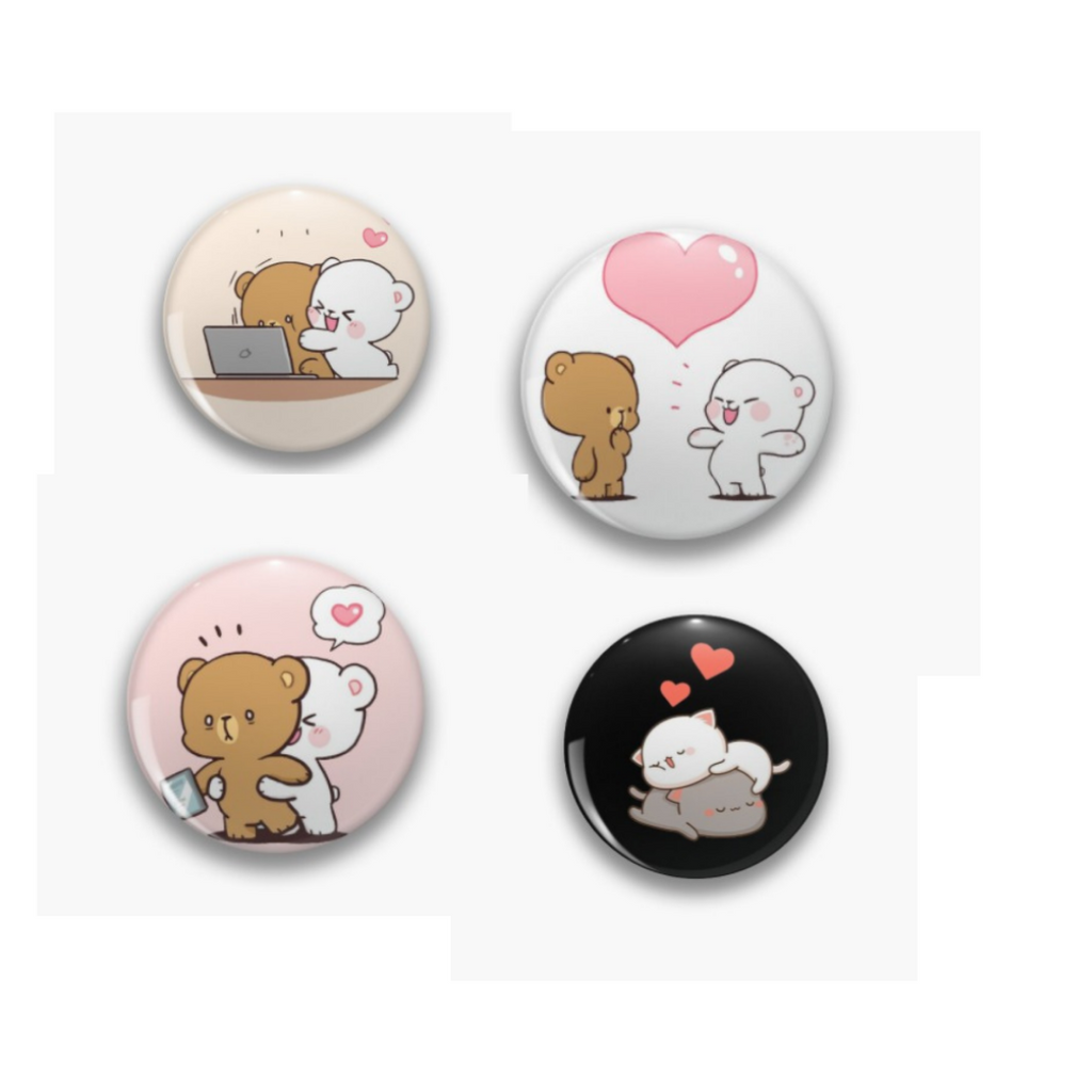 Cute Milk Mocha Badge Pin  Pack of 4