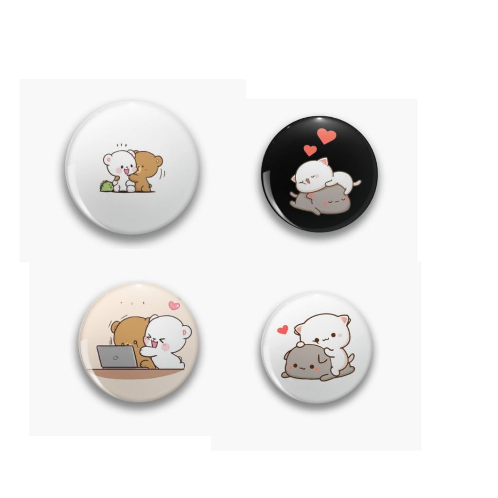 GF Bf Milk Mocha Couple Badge Pin  Pack of 4