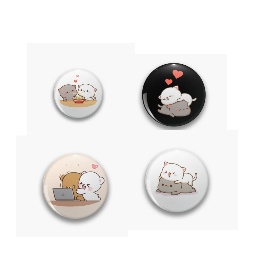 Peach Goma cute couple Badge Pin Pack of 4