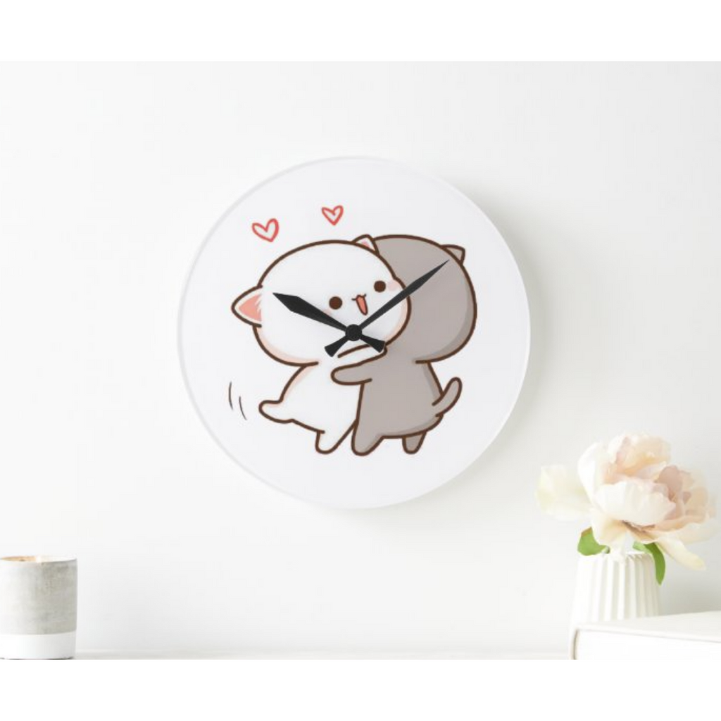 Cute Couple Peach Goma Hug Wall Clock
