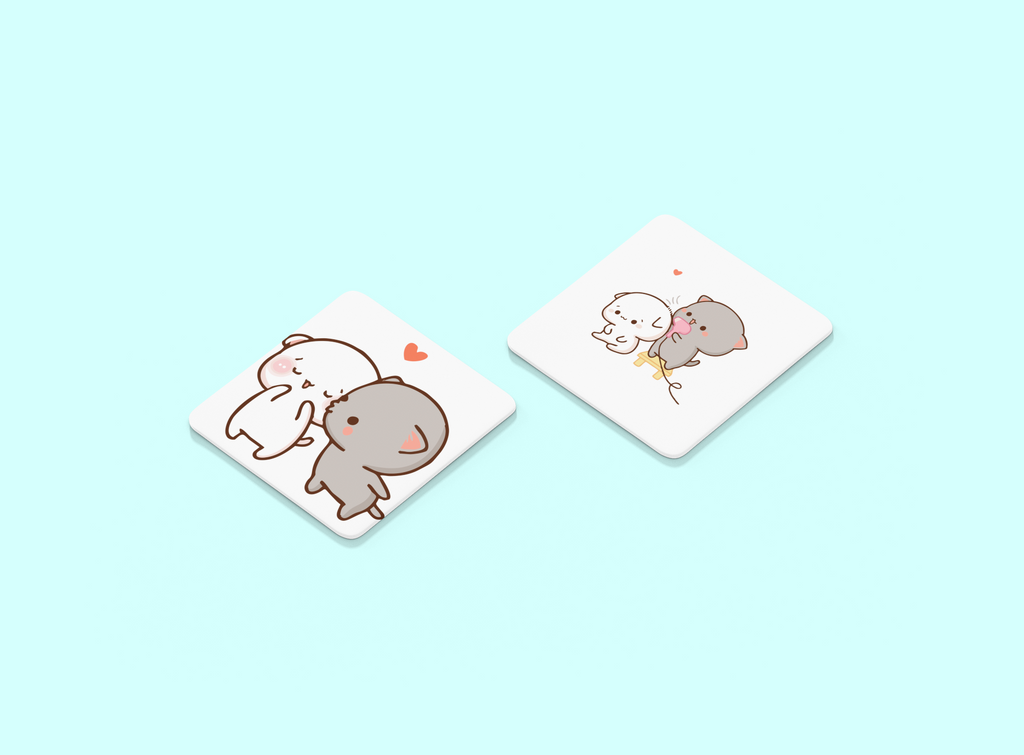 Peach and Goma Set of 2 Coaster