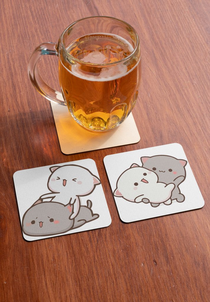 Peach Loves Goma Mochi Cat Coaster Set of 2