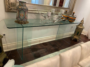 Thick Cut Large Glass Console Table