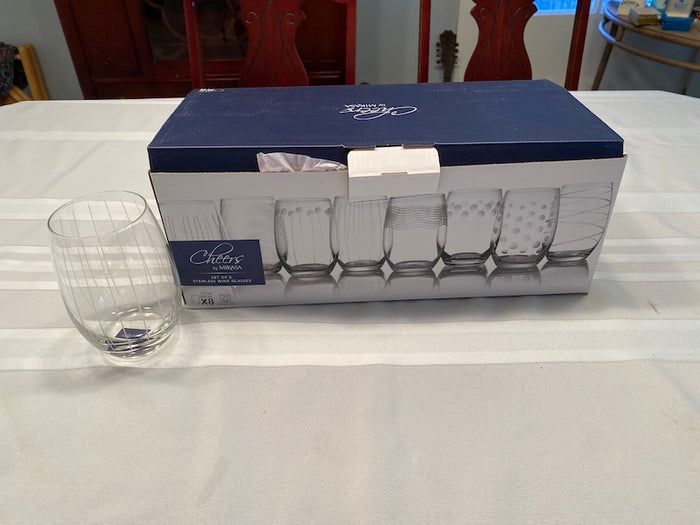 """Cheers"" by Mikasa- Set of 8 Stemless Wine Glasses- BRAND NEW"