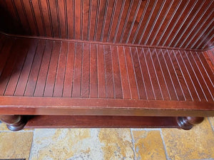 Wood Bench with Rolled Arms & Paneling