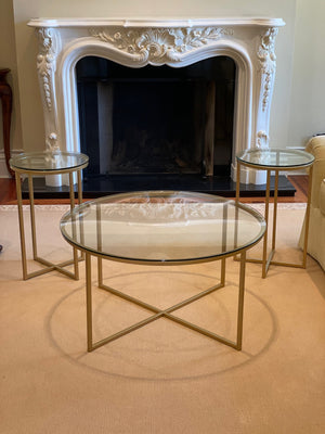 Round Glass Coffee Table + 2 Matching Side Tables, Gold Metal Base