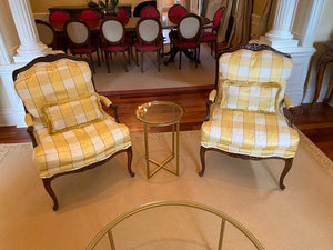 2 Yellow Patterned French Style Bergere Chairs