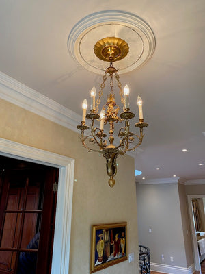 Brass Chandelier with 6 Lights