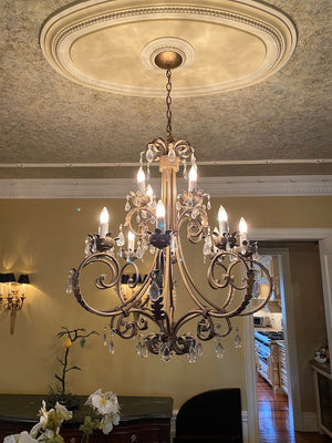 Gold Metal Chandelier with 12 Lights & Glass Pendants