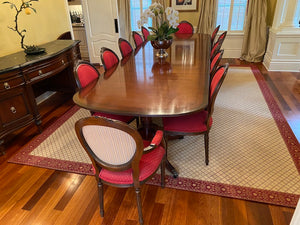 12 Red French Louis XVI Style Dining Chairs (*table not for sale)