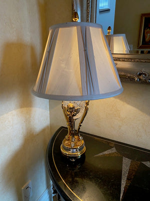 Brass & Crystal Table Lamp, White Shade