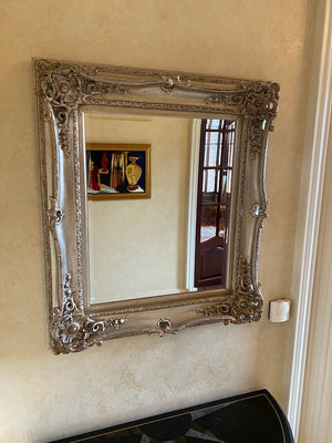 Ornate Silver Framed Wall Mirror