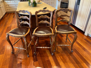3 Antique Wood & Leather Bar Stools