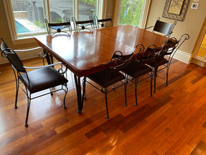 Solid Wood Dining Table + 8 Leather/Metal Chairs