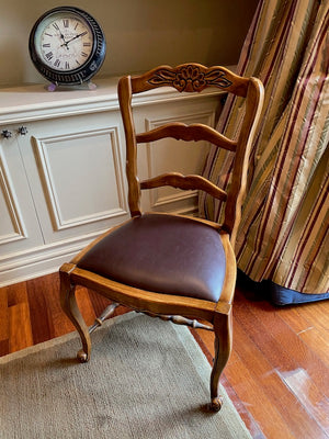 Antique Wood & Leather Side Chair