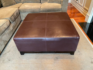 Brown Leather Square Ottoman