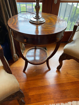 """Maitland Smith"" Burled Wood Round Table, with gold accents"