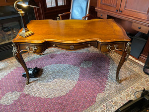 Executive Walnut/Leather Desk with Beautiful Gold Accents
