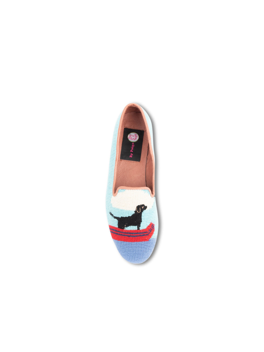Womens Black Lab Canoe Needlepoint Loafer 7