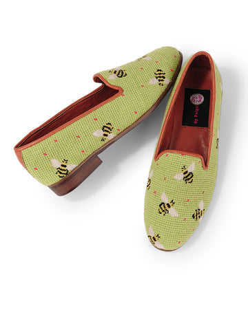 Womens Bumblebees on Lime Needlepoint Loafer