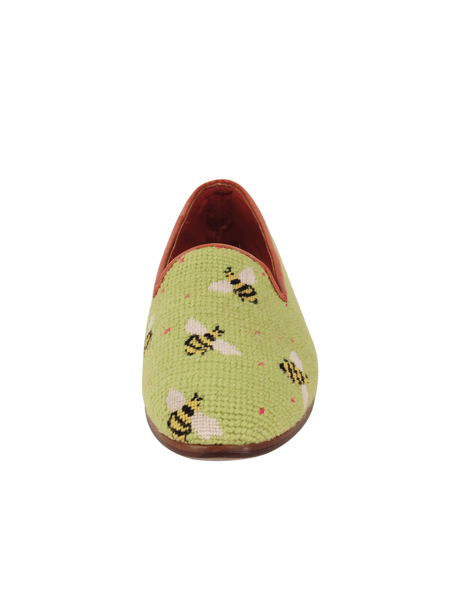Womens Bumblebees on Lime Needlepoint Loafer 4