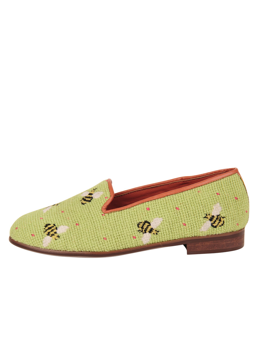 Womens Bumblebees on Lime Needlepoint Loafer 6