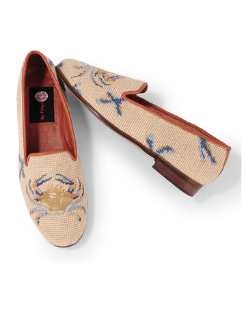 Womens Crab on Tan with Blue Coral Loafer Needlepoint Loafer