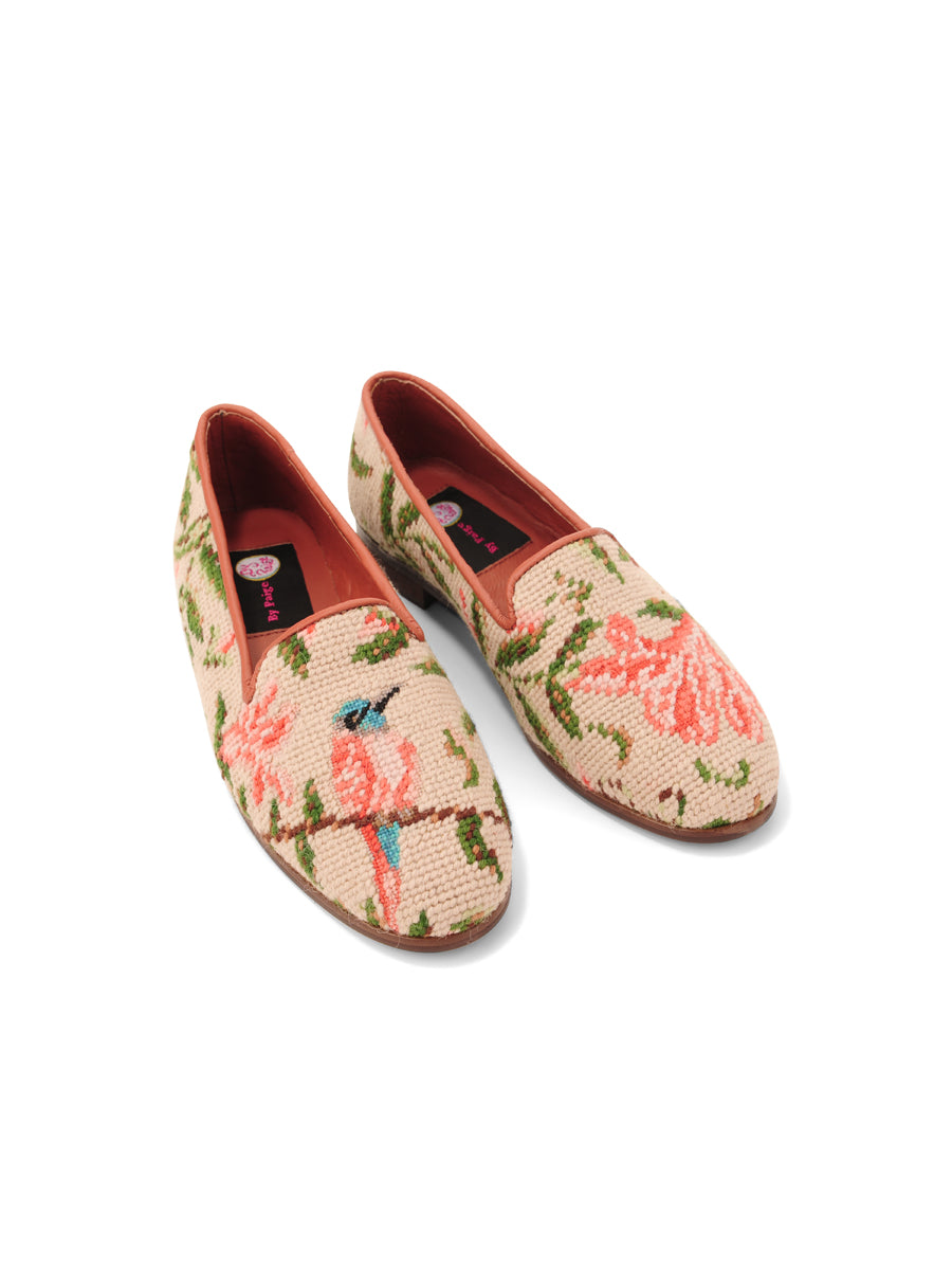 Womens Hummingbird and Flower  Needlepoint Loafer 4