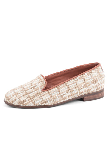 Womens Tan Tweed Needlepoint Loafer