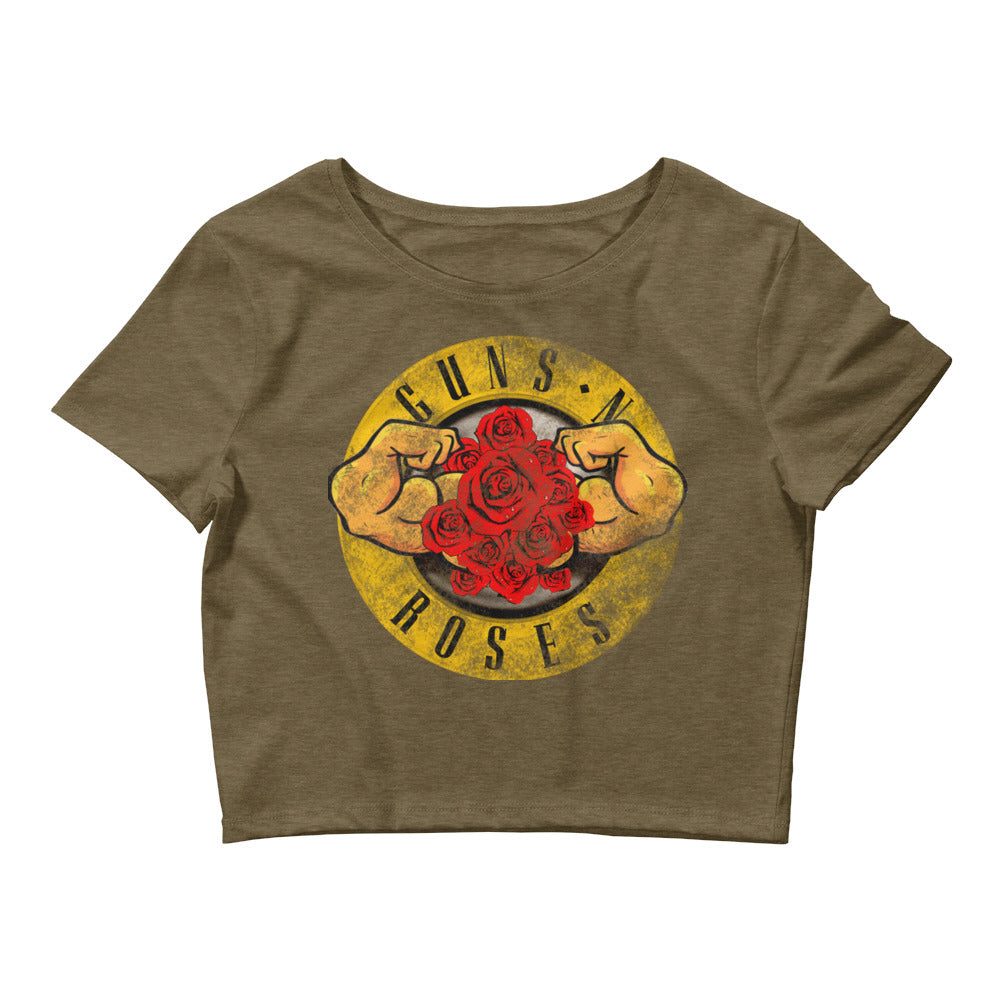 Women's MUSCLES N ROSES Crop Tee