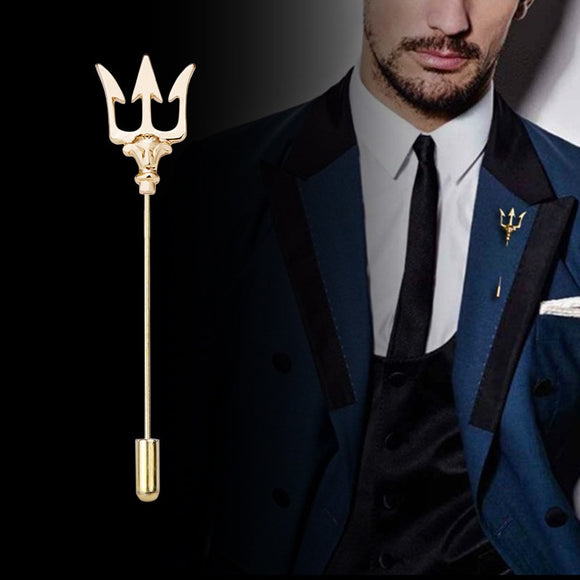 High-end Vintage Trident Brooch Metal Long Needle Lapel Pins Men's Suit Jewelry Sweater Pins Ladies Badge for Men Accessories