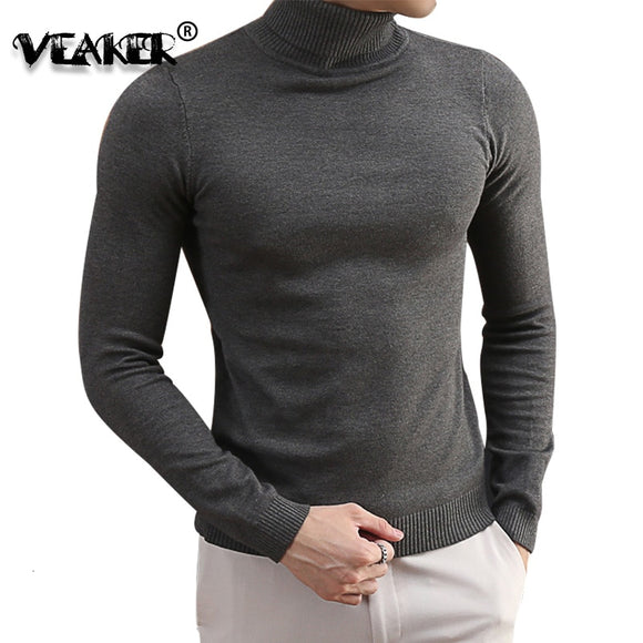 Turtleneck Sweaters For Men 2019 Autumn Knitted Pullovers Korean Knitwear Slim Fit Solid Color Casual Men's Wool Sweaters S-3XL