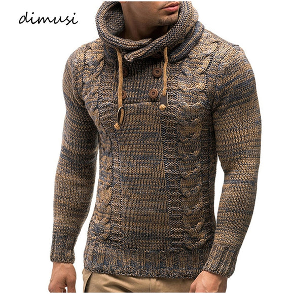 DIMUSI Autumn Winter Men's Sweaters Fashion Knitted Cultivate Morality Turtleneck Sweatshirt Male Warm Hooded Pullovers Clothing