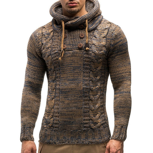 Men's Fashion Solid Color Knit Hooded Sweaters 2020 New O-Neck Long Sleeve Slim Fit Pullover Tops Autumn Winter