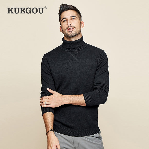 KUEGOU Brand clothing Men's turtleneck knitting sweater Solid color winter warm sweater men slim tops plus size 3XL  XZ-89002