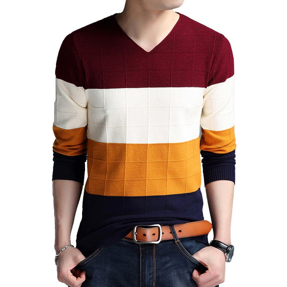 BROWON Brand-sweater Autumn Men's Long Sleeve Slim Sweaters New V-neck Fit Sweater Striped Bottom Sweaters Large Size M-4XL