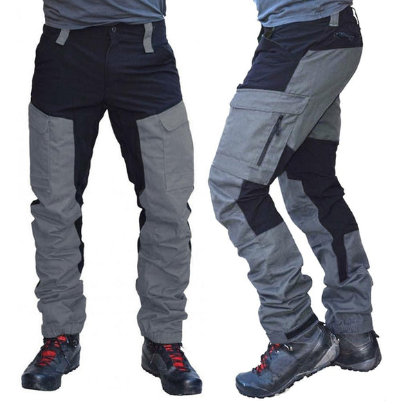 Men Fashion Color Block Multi Pockets Sports Long Cargo Pants Work Trousers Men's Tactical Work Out Quick Dry Pants