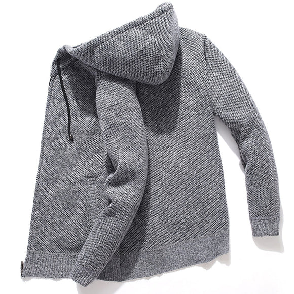 Hooded Knitted Man Sweater Fleece Cardigan Oversized Men's Sweater Winter Casual Solid Hoodies Sweater Homme Knitted Men Coats