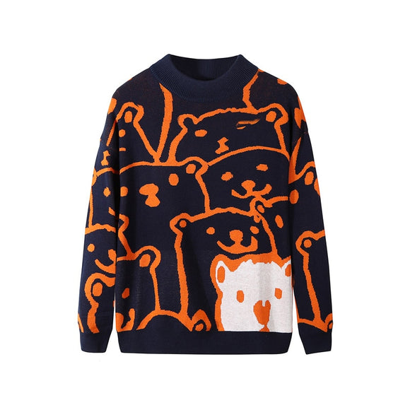 Cartoon Bear Sweater Men Winter Men's Clothing Fashion Long Sleeve Knitted Pullover Sweater Homme Oversized 2020 New Cotton Coat