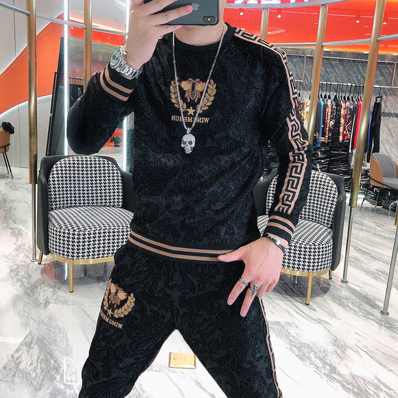 New high end sportswear men's autumn trend embroidered dark grain thickened sweater casual two piece men's wear