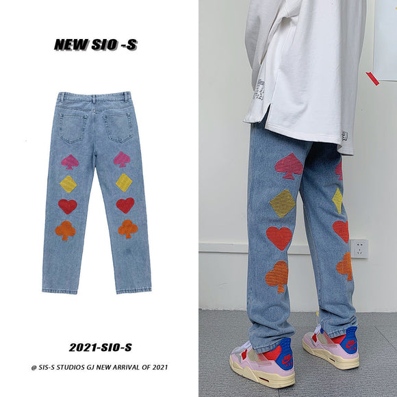 Privathinker Men's Graphic Printed Embroidery Jeans Woman Korean Streetwear Straight Denim Pants Male Casual Oversize Jeans
