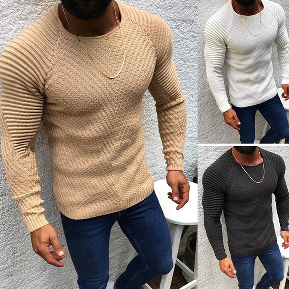 2021 New Autumn Winter Pullover Sweaters Men O-neck Solid Color Long Sleeve Knitwear Slim Men's Sweater Pull Male Clothing MY279