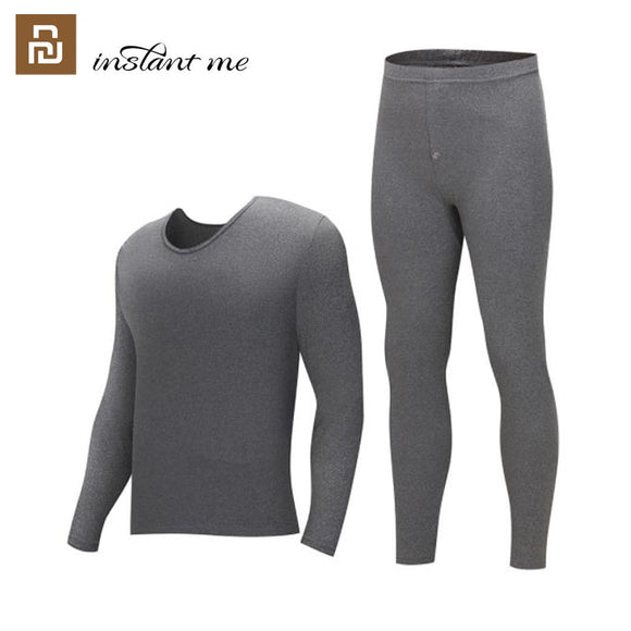 youpin instant me Thermal underwear men's round neck cotton pants sweater bottoming thermal underwear set winter