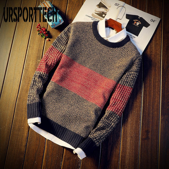 2020 Autumn Casual Men's Sweater O-Neck Striped Slim Fit Knitted Mens Sweaters Pullovers Knitt Elastic Pullover Men Pull Homme