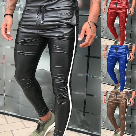 2020 Men's Leather Motorcycle Pants  European and American Slim Lace-up Pants Side Stripes Casual Skinny Leather Pants